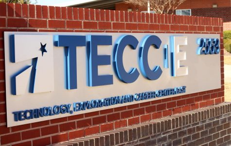 Sign outside of the Technology, Exploration and Career Center East (TECCE) building.