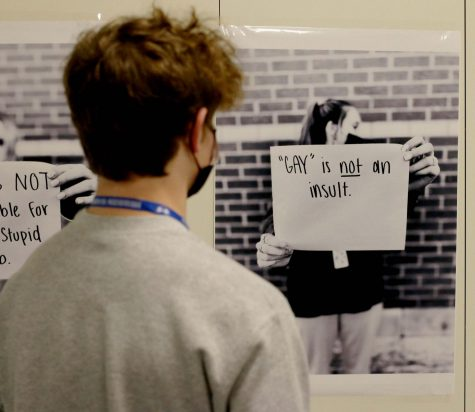 "As part of the ""Watch Your Words"" campaign, posters were hung in the main hallways pointing out different slurs and microaggressions students may have experienced on campus."
