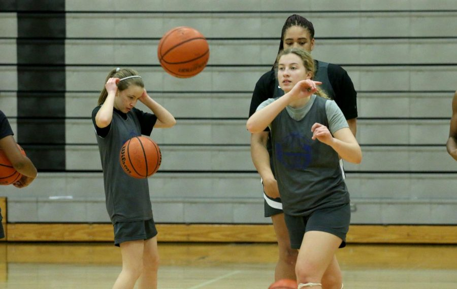 Senior Zosia Rej passes the ball to her teammate during practice Feb. 2. The team finished fourth in their district.