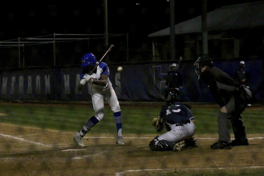 Sophomore outfielder Aden Howard is hit by a pitch in the seventh inning. Howard getting hit meant the Hawks' tying run was on first and the winning run was at the plate with only one out left in the last inning.
