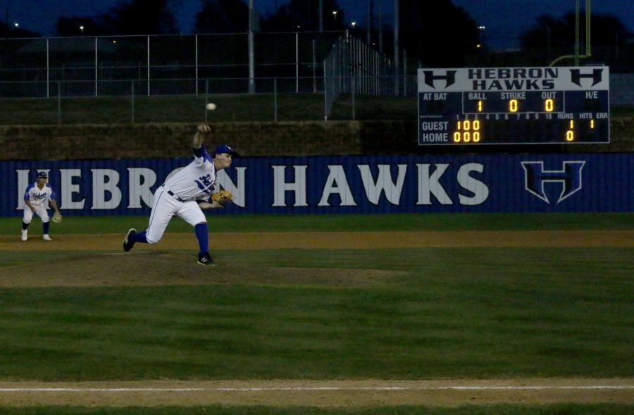Senior Jeremy Slate strikes out a batter to start the third inning. Slate pitched the majority of the game and only gave up one run.