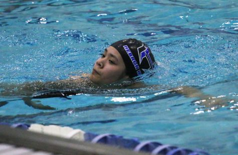 Freshman Phoebe Truong practices her strokes during morning practice. The team practices everyday at the LISD Eastside Aquatic Center from 6:15 a.m. to 8:45 a.m.
