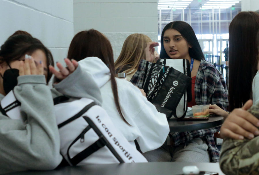 Students eat during their assigned D lunch.