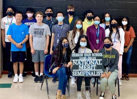 17 National Merit Semifinalists pose for photo.