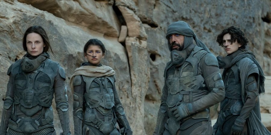 Rebecca Ferguson, Zendaya, Oscar Isaac and Timothée Chalamet in Dune, released in theaters and on HBOMax Oct. 21.